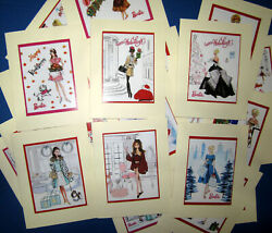 Lot 26 Handmade Photo Note Cards With Barbie Fashion Illustrations For Holidays