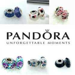 2PCS Authentic Pandora Murano Silver Charm Dangle Beads Gift Pouch