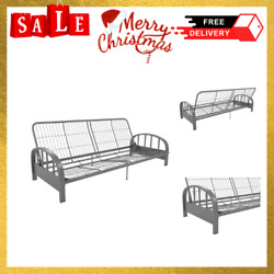 Heavy Duty Futon Frame Silver Low Seating Design Sofa Sleeper Extra Day Bed New