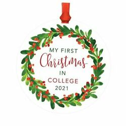 Family Round Metal Christmas Ornament In College 2021 Red My First Christmas