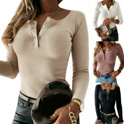 Women Button Neck Ribbed Pullover Slim Fit Long Sleeve Blouse Winter Jumper Tops