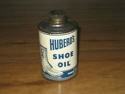 Vintage Huberdand039s Shoe Oil Tin-older Round With Cone Top-nice Litho