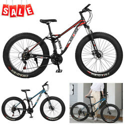 26 4w Fat Tire Mountain Bike Mtb Mens 17in High Carbon Steel Frame Bicycle
