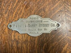 Antique Billiard Table Name Plate Rosatto Barry Street Phila Pa Brass Sign