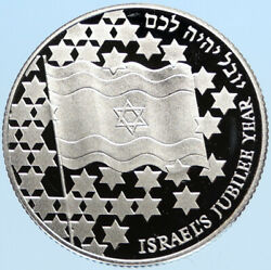 1998 Israel 50th Independence Day Flag Vintage Proof Silver 2 Shekel Coin I97784