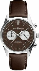 Brand New Bell And Ross Vintage Officer Brown 41mm Men's Watch Brg126-brn-st/scr