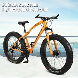 26 4w Fat Tire Mountain Bike Mens 21 Speed 17 High Carbon Steel Frame Bicycle