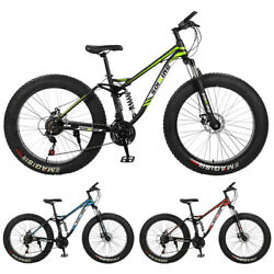 26 4w Fat Tire Mountain Bike Mtb Mens 17in 21-speed Carbon Steel Frame Bicycle