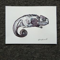 Small original pen amp; ink wash drawing on paper of a chameleon