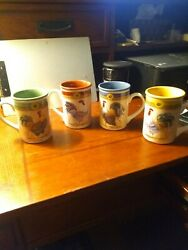 4 Gibson Ceramic Mugs Daybreak Sunflower Rooster Country Coffee Cup 4-5