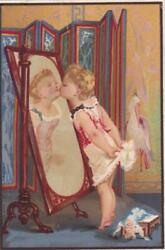 Victorian Stock Trade Card Little Girl Kissing Her Image In A Mirror 4.5 X 3
