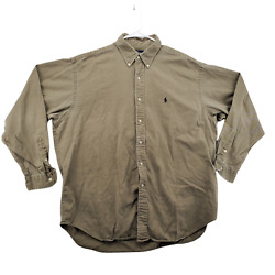 Polo Button Up Shirt Adult X-large Tan Blue Pony Long Sleeve Men