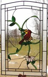 3 Song Bird Leaded Stained Glass Windows 33h X 24w 1950