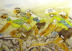 Nelson, Original Watercolor Bike Riders Bicycle Race, Art Submit Best Offer