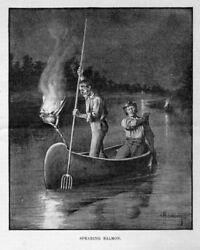 Fishing Spearing Indians Iroquois Of The Grand River Spearing Salmon History