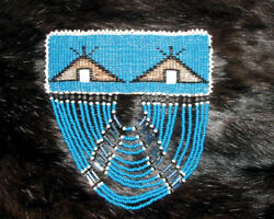4.5x1.5 Barrette Beaded Authentic Native American Indian Made Fringed 46