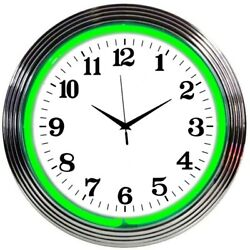 Wholesale Lot Of 10 Blue Green Yellow Or Teal Neon Chrome Finish Clock Sign
