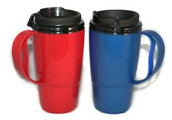 2 Foam Insulated 16oz Thermoserv Travel Mugs Red And Blue