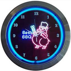 Bbq Barbecue Pink Pig Ribs Neon Clock Sign Pork Smokehouse Smoker Grille Grill