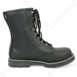 German Paratrooper Black Leather Boots - Steel Toe Leather Army Military New