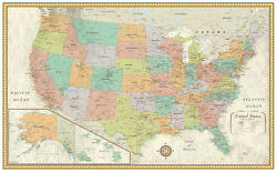 32x50 Rand McNally Style United States USA US Classic Wall Map Poster by RMC