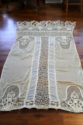 Rare French Edwardian Chateau Lace Curtain 98 In. Long