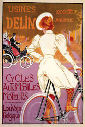 Bicycle Bike Car Cycles Automobile Usines Delin French Vintage Poster Repro