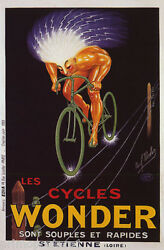 Nude Man Bicycle Bike Cycles Wonder Light Electric French Vintage Poster Repro