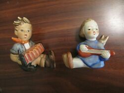 Two 1960's Goebel Figures. Boy With Accordion And Angel With Guitar Candle Holder