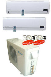 Dual Zone Ductless Split Air Conditioner Seer 16 9+9