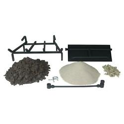 18 24 30 Gas Log Hearth Kit Burner Embers Grate Everything Needed Ng Or Lp
