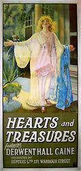 Hearts And Treasures 1920 Derwent Hall Caine Cecil Barber Uk 40x90 Poster