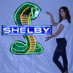 3 Carroll Shelby Racing Neon Sign Mustang Ford Gt Gt500 Super Snake Jubilee