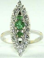 VTG 1930's ART DECO 14K WHITE GOLD 1.2 CARAT EMERALD DIAMOND COCKTAIL RING