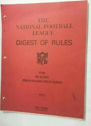 1973 The National Football League Digest Of Rules For Players Pete Rozelle Nfl