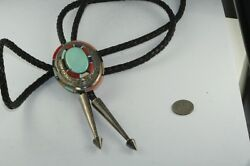 Vintage Signed Ken Romero Sterling Silver Turquoise Coral Bolo Tie