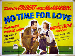 No Time For Love 1943 Claudette Colbert, Fred Macmurray Uk Quad Poster