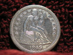 1849 O Seated Liberty Dime A Rare Date- Ef Details--free Shipping