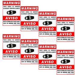 8x Cctv Security Warning Signs Decals Signs Video Stickers Home Surveillance Cly