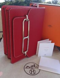 NWT Hermes Roulis Red Togo Leather Silver Hardware Shoulder HandBag in Box