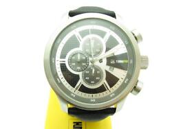 Techno Sport Chronograph Stainless Steel Black Leather Strap Large Face Watch