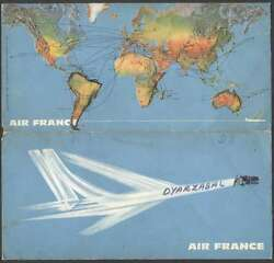 Brochure Air France Airlines Ticket Holder Map Of Route 1967