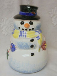 Vtg Handcrafted Italy Christmas Holiday Adorable Snowman Winter Decor Cookie Jar