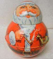Vtg 1980s Tin Christmas Figure Roly Poly Santa W Pipe Tobacco Container Jar Rare