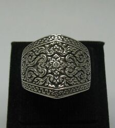 Sterling Silver Ring Solid 925 Floral Band Henna Style Size 6 - 13 Empress R0012