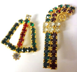 Vtg Retro 60s Clear Red Green Rhinestones Christmas Candy Cane Bell Pin Brooches