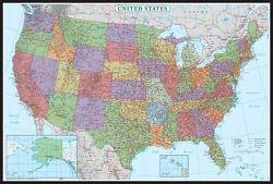 United States US USA Wall Map Poster Decorator Edition by Swiftmaps