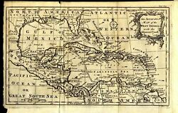 1762 Accurate Map Of The West Indies And United States Coast Florida Louisiana