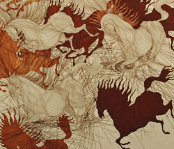 Guillaume Azoulay Suite St Ii 1984 Etching Hand Signed And Numbered Horses L@@k