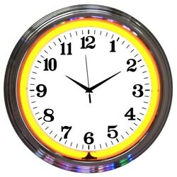 Wholesale Lot Of 5 Blue Green Yellow Turquoise Neon Chrome Finish Clock Sign